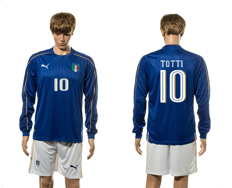 European Cup 2016 Italy home 10 Totti blue long sleeve soccer jerseys
