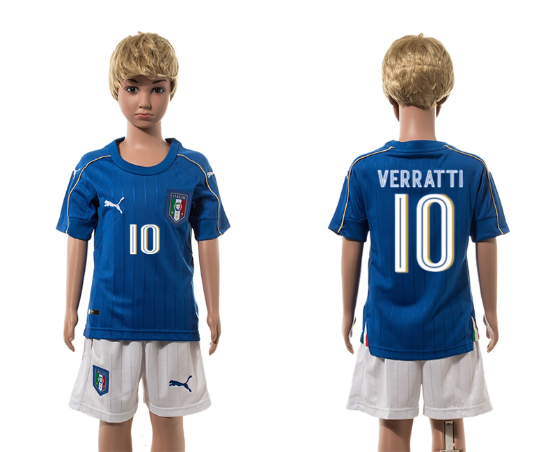 European Cup 2016 Italy home 10 Verratti blue kids soccer jerseys
