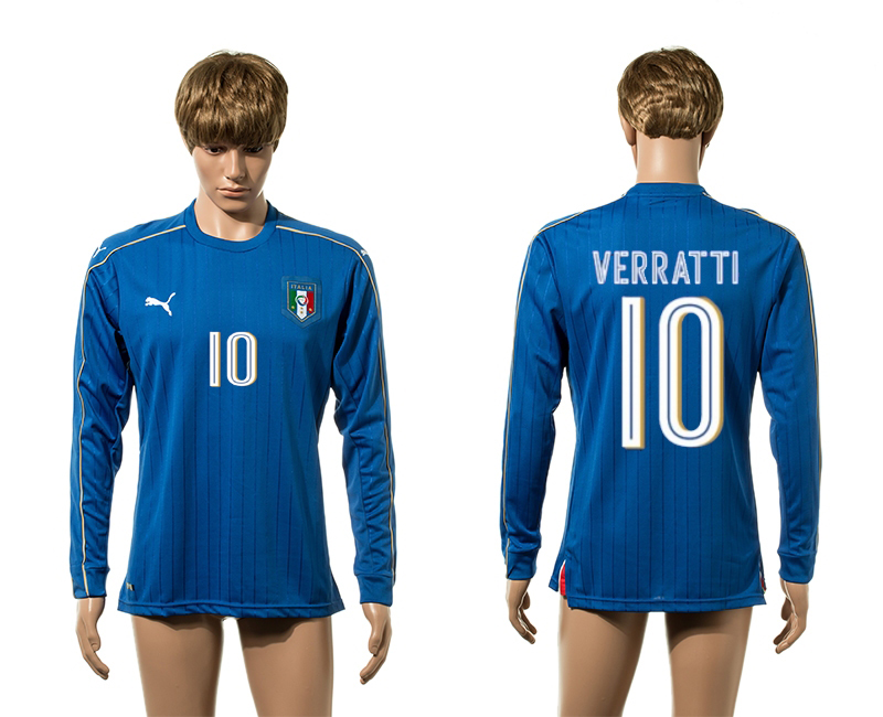 European Cup 2016 Italy home 10 Verratti blue long sleeve AAA+ soccer jerseys