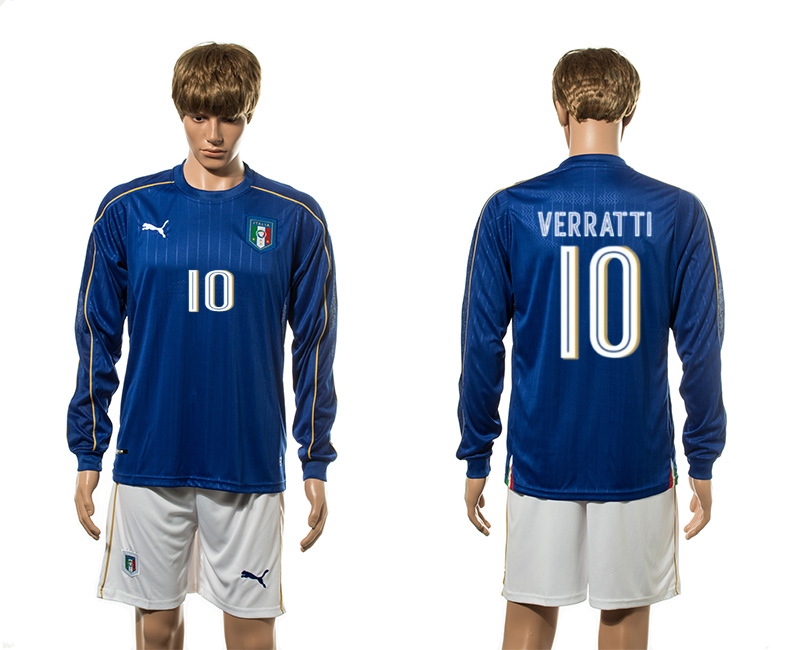 European Cup 2016 Italy home 10 Verratti blue long sleeve soccer jerseys