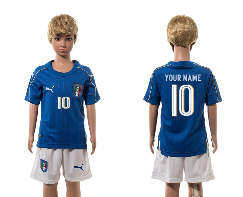 European Cup 2016 Italy home 10 customized blue kids soccer jerseys