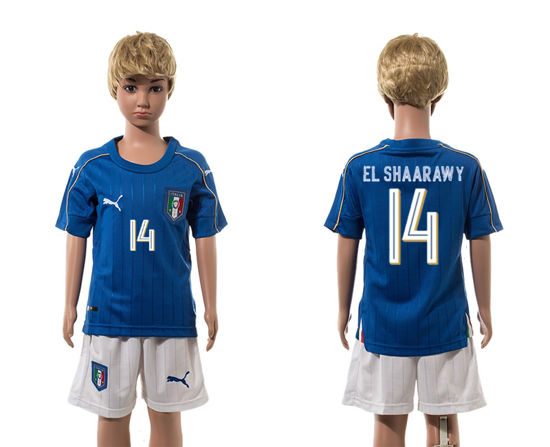 European Cup 2016 Italy home 14 El Shaarawy blue kids soccer jerseys