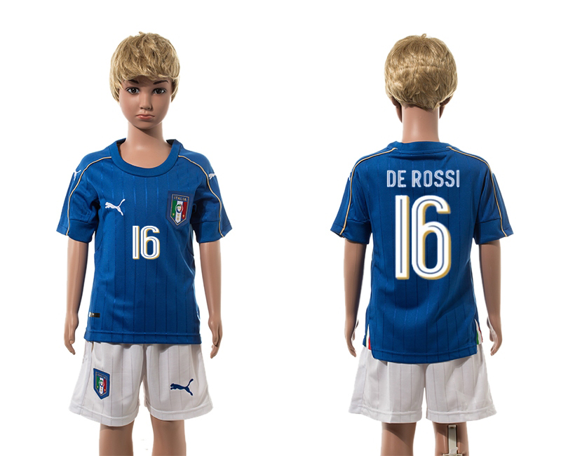 European Cup 2016 Italy home 16 De Rossi blue kids soccer jerseys
