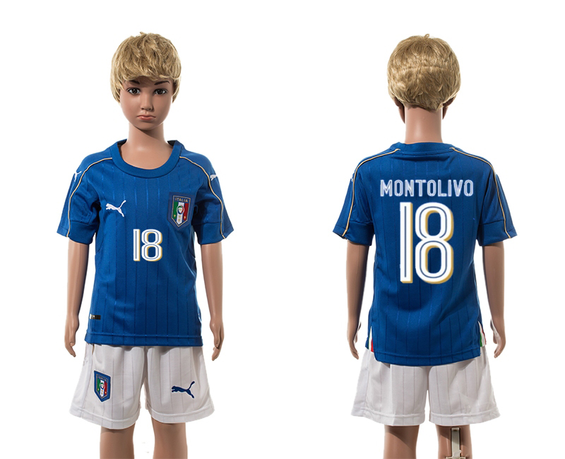 European Cup 2016 Italy home 18 Montolivo blue kids soccer jerseys