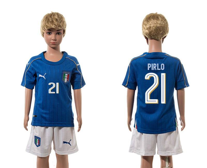 European Cup 2016 Italy home 21 Pirlo blue kids soccer jerseys
