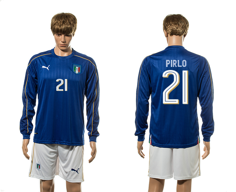 European Cup 2016 Italy home 21 Pirlo blue long sleeve soccer jerseys