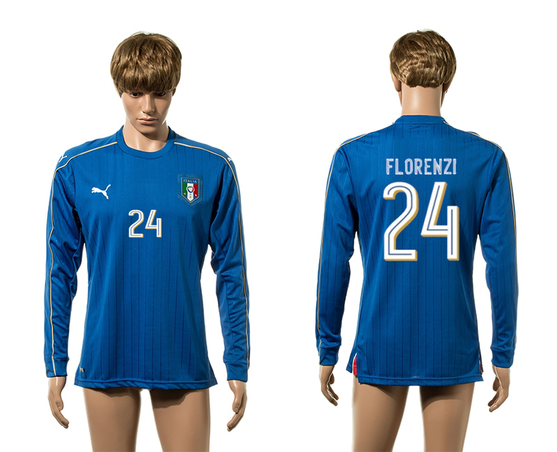European Cup 2016 Italy home 24 Florenzi blue long sleeve AAA+ soccer jerseys