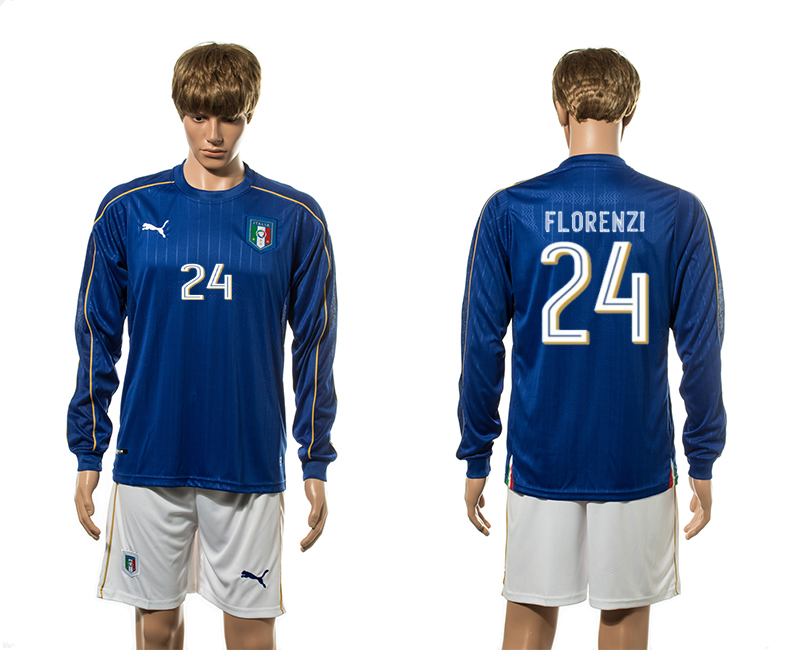European Cup 2016 Italy home 24 Florenzi blue long sleeve soccer jerseys