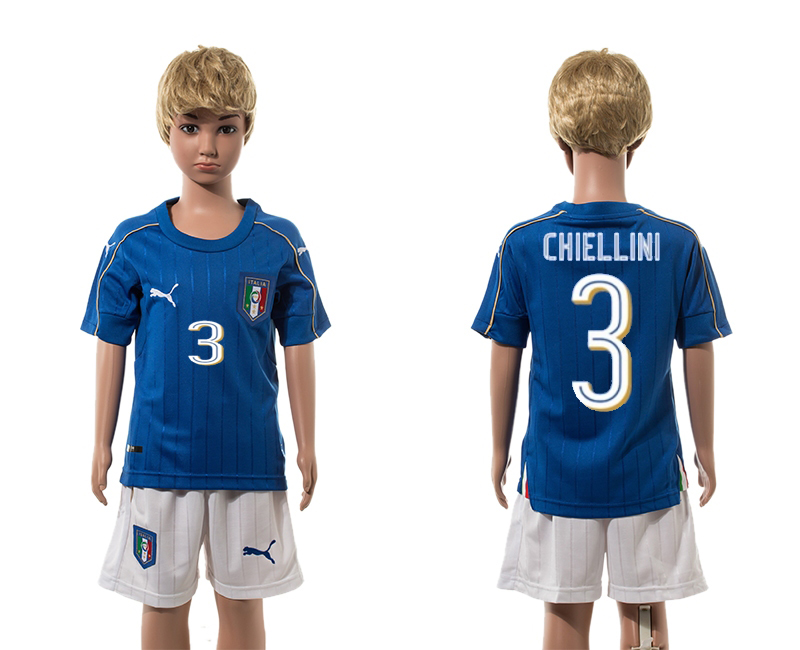 European Cup 2016 Italy home 3 Chiellini blue kids 3 soccer jerseys