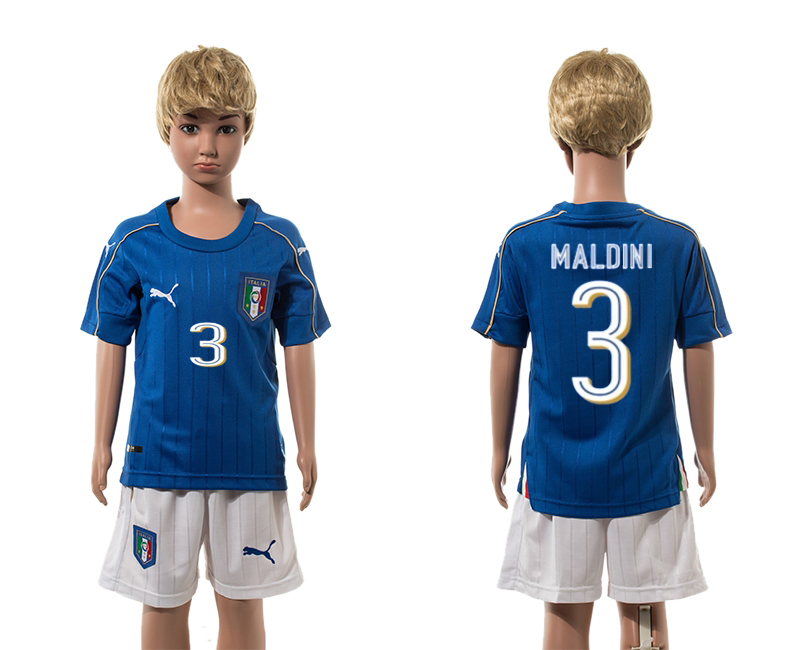 European Cup 2016 Italy home 3 Maldini blue kids soccer jerseys