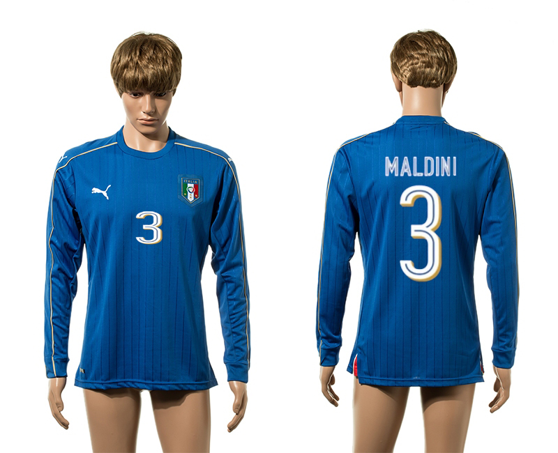 European Cup 2016 Italy home 3 Malini blue long sleeve AAA+ soccer jerseys