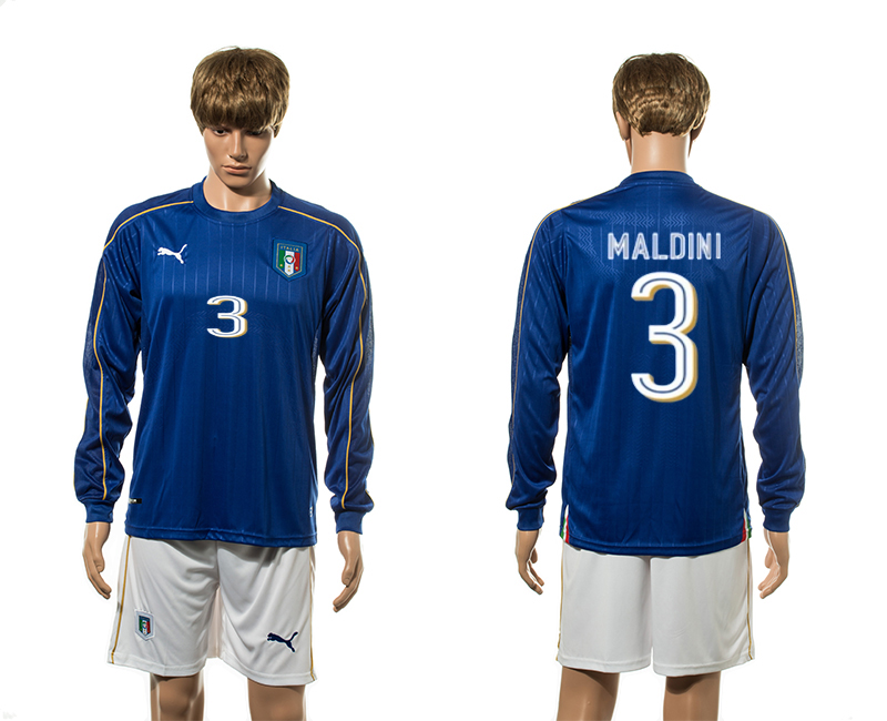 European Cup 2016 Italy home 3 Malini blue long sleeve soccer jerseys