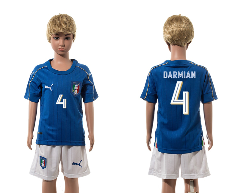 European Cup 2016 Italy home 4 Darmian blue kids soccer jerseys