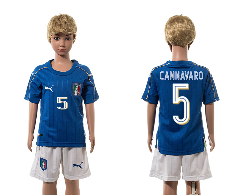 European Cup 2016 Italy home 5 Cannavaro blue kids soccer jerseys