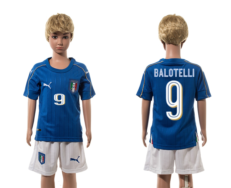European Cup 2016 Italy home 9 Balotelli blue kids soccer jerseys