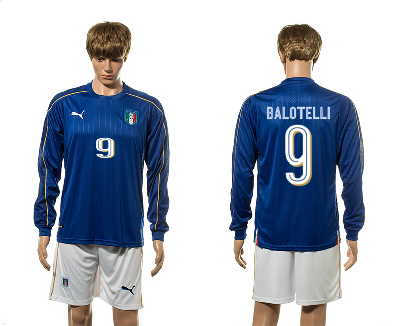 European Cup 2016 Italy home 9 Balotelli blue long sleeve soccer jerseys