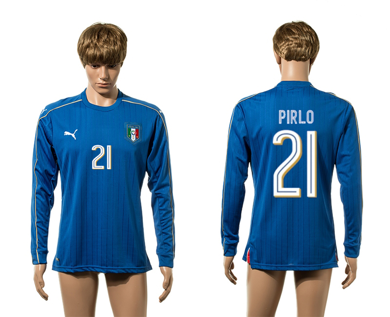 European Cup 2016 Italy home21 Pirlo blue long sleeve AAA+ soccer jerseys