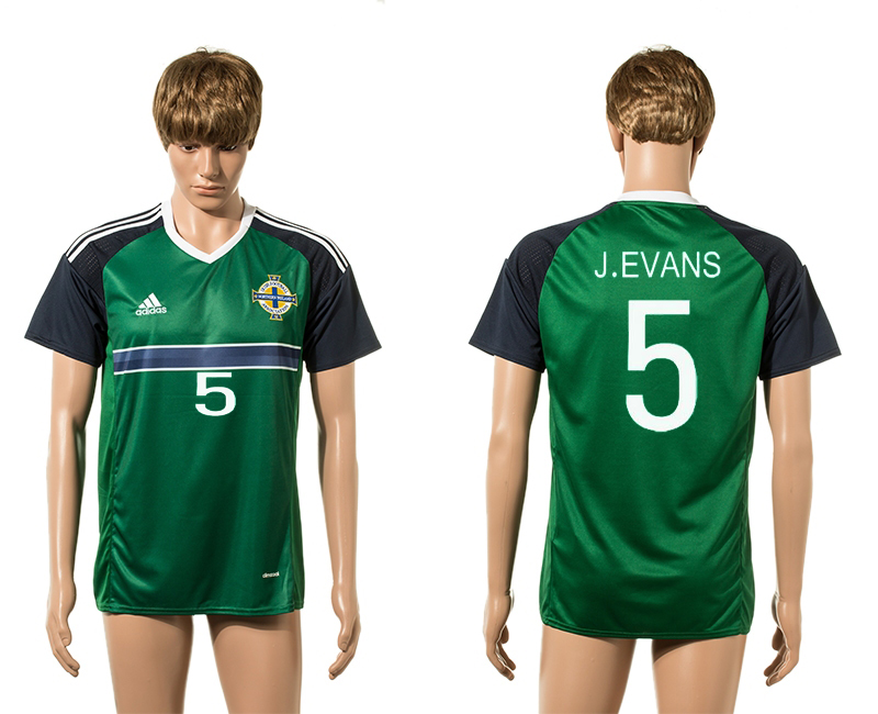 European Cup 2016 Northern Ireland 5 J.Evans green home AAA+ soccer jerseys