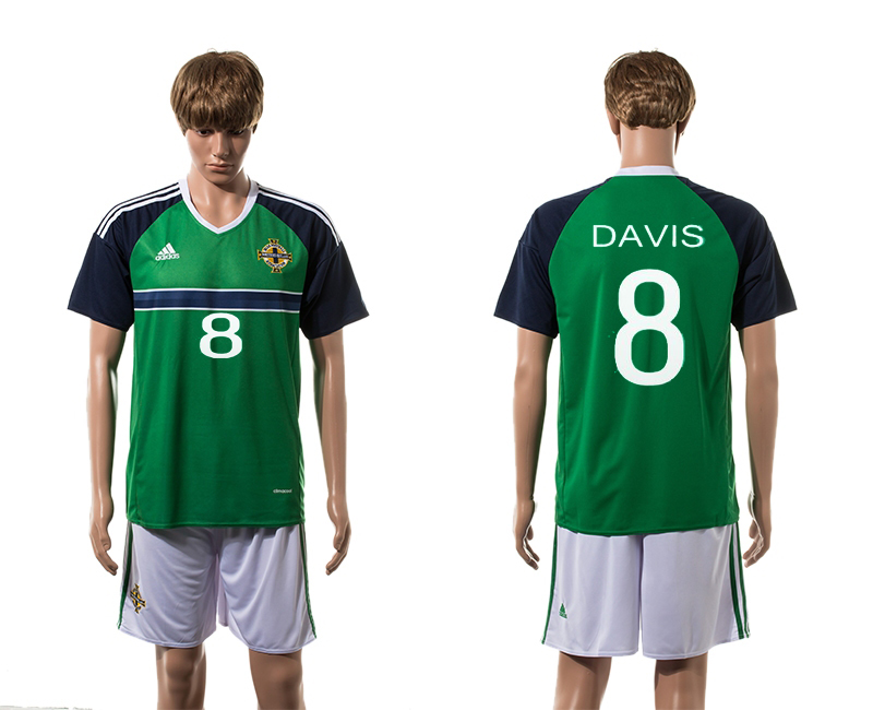 European Cup 2016 Northern Ireland home 8 Davis green soccer jerseys