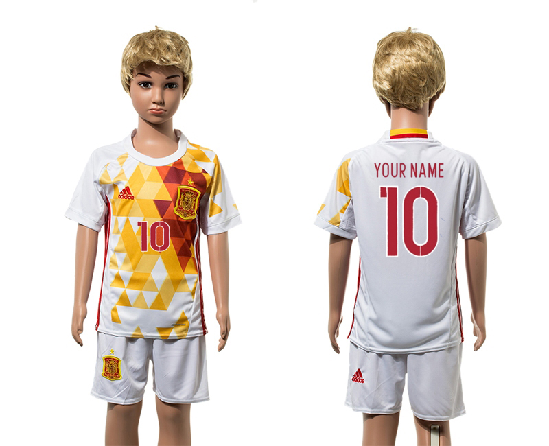 European Cup 2016 Spain away 10 customized white kids soccer jerseys