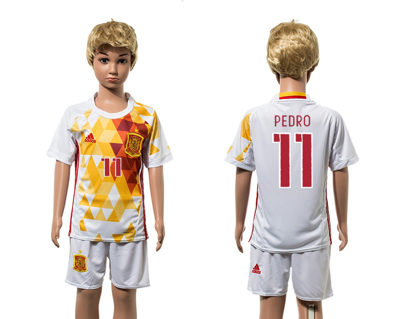 European Cup 2016 Spain away 11 Pedro white kids soccer jerseys