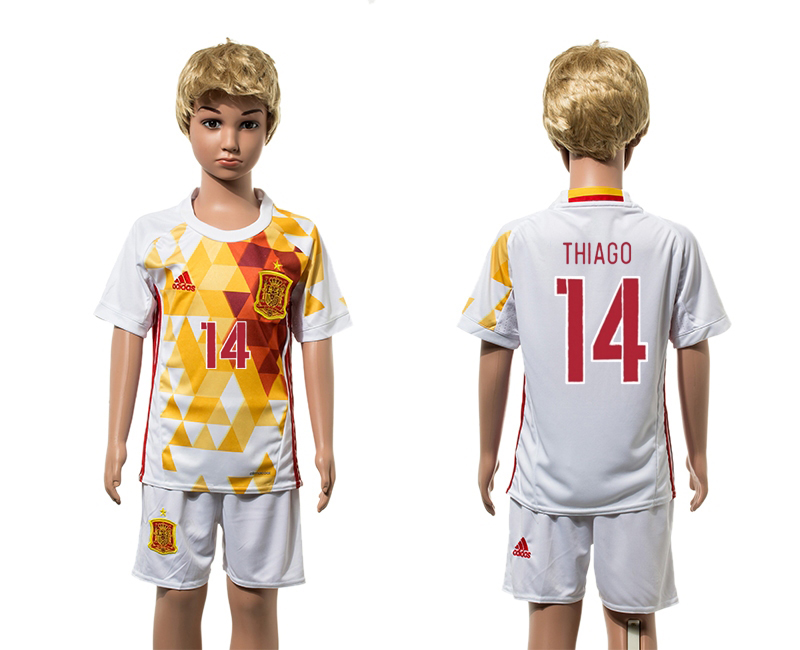 European Cup 2016 Spain away 14 Thiago white kids soccer jerseys