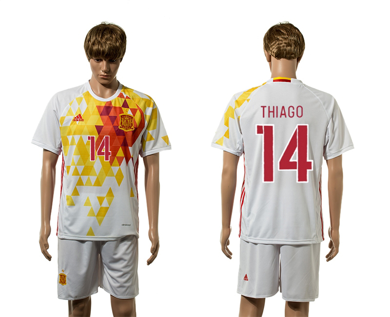 European Cup 2016 Spain away 14 Thiago white soccer jerseys