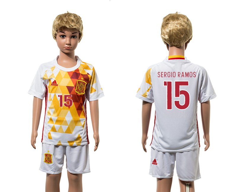 European Cup 2016 Spain away 15 Sergio Ramos white kids soccer jerseys