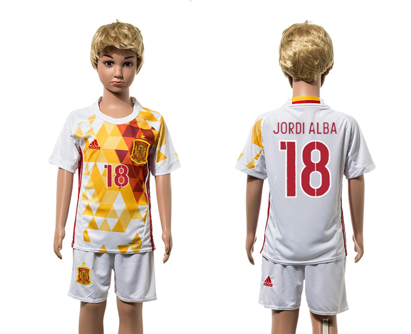 European Cup 2016 Spain away 18 Jordi Alba white kids soccer jerseys