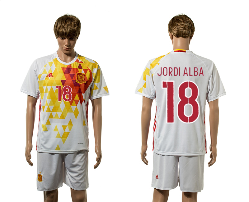 European Cup 2016 Spain away 18 Jordi Alba white soccer jerseys
