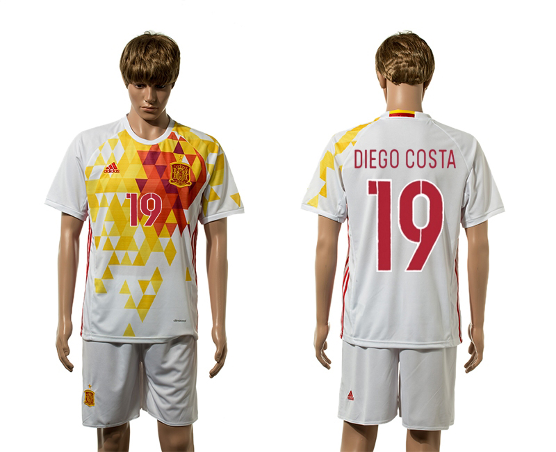 European Cup 2016 Spain away 19 Diego Costa white soccer jerseys
