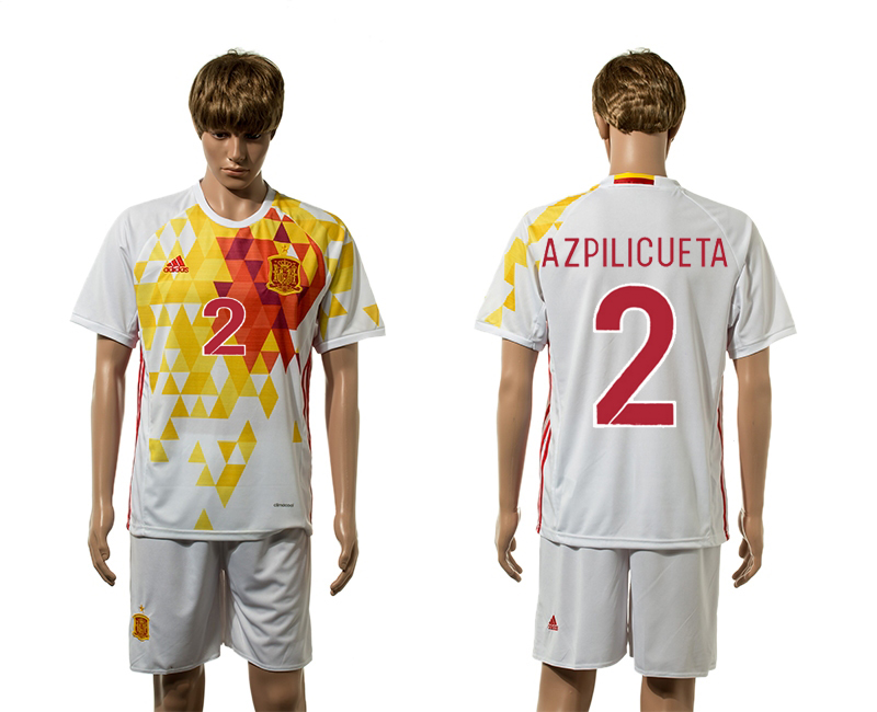 European Cup 2016 Spain away 2 Azpilicueta white soccer jerseys