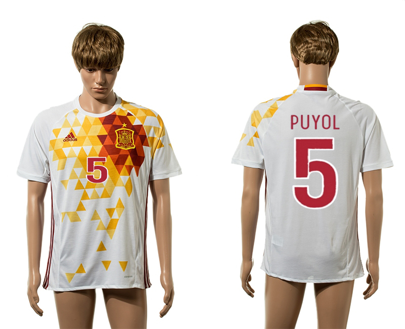 European Cup 2016 Spain away 5 Puyol white AAA+ soccer jerseys