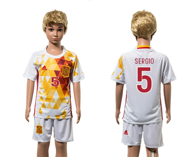 European Cup 2016 Spain away 5 Sergio white kids soccer jerseys