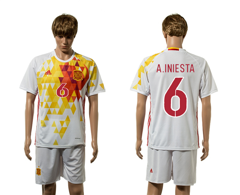 European Cup 2016 Spain away 6 A.Iniesta white soccer jerseys