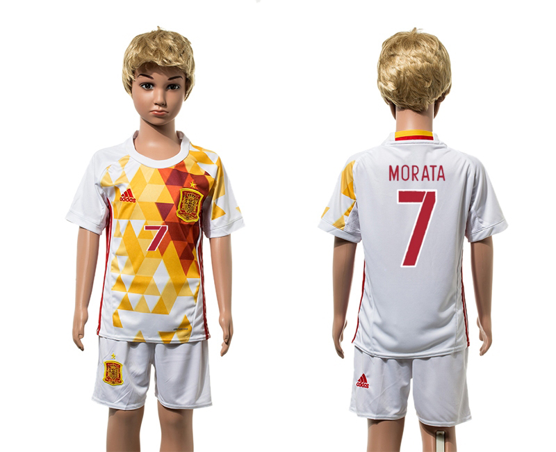 European Cup 2016 Spain away 7 Morata white kids soccer jerseys