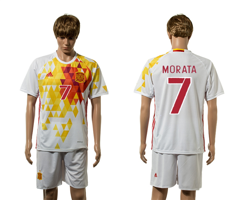 European Cup 2016 Spain away 7 Morata white soccer jerseys