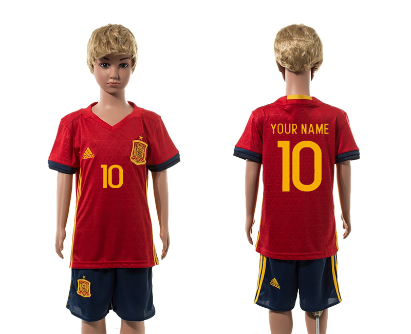 European Cup 2016 Spain home 10 customized kids soccer jerseys