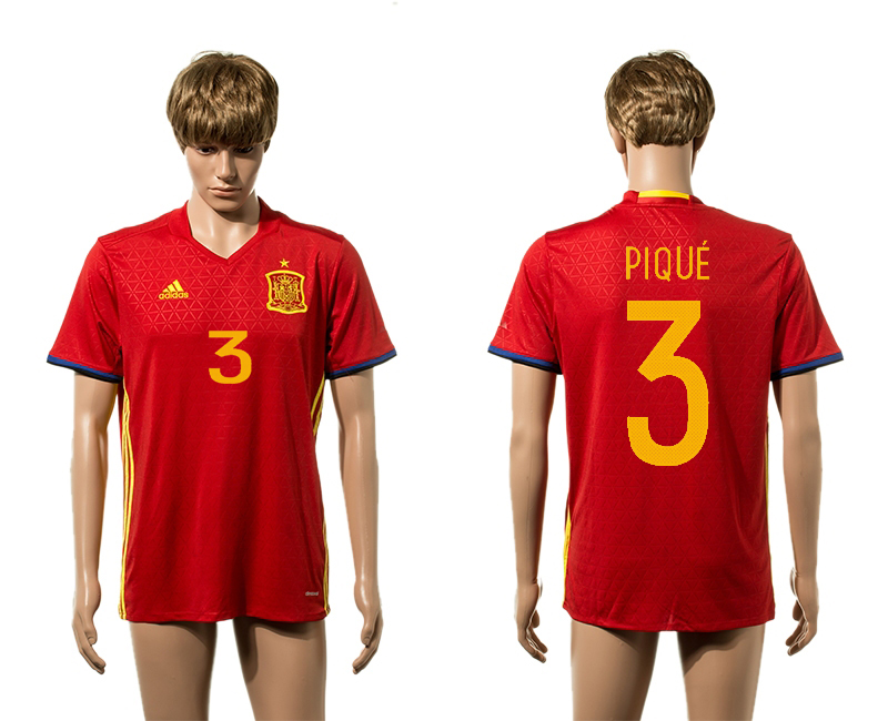 European Cup 2016 Spain home 3 Pique red AAA+ soccer jerseys