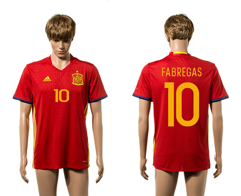 European Cup 2016 Spain home 10 Fabregas red AAA+ soccer jerseys