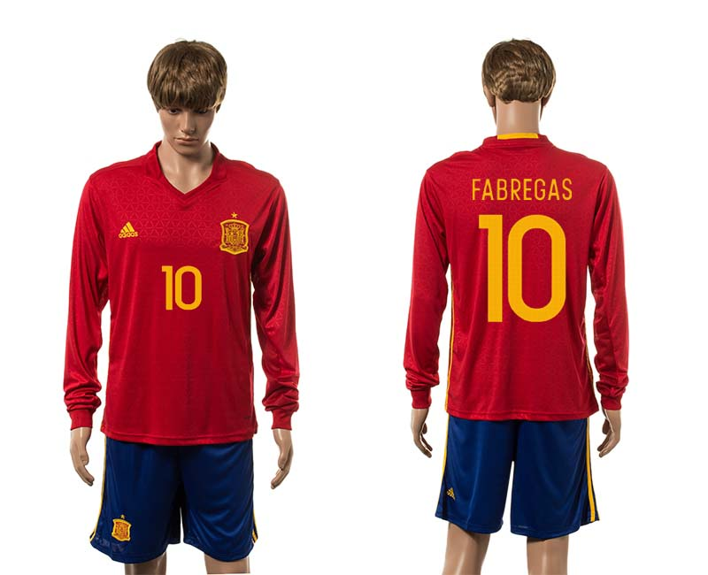European Cup 2016 Spain home 10 Fabregas red long sleeve soccer jerseys