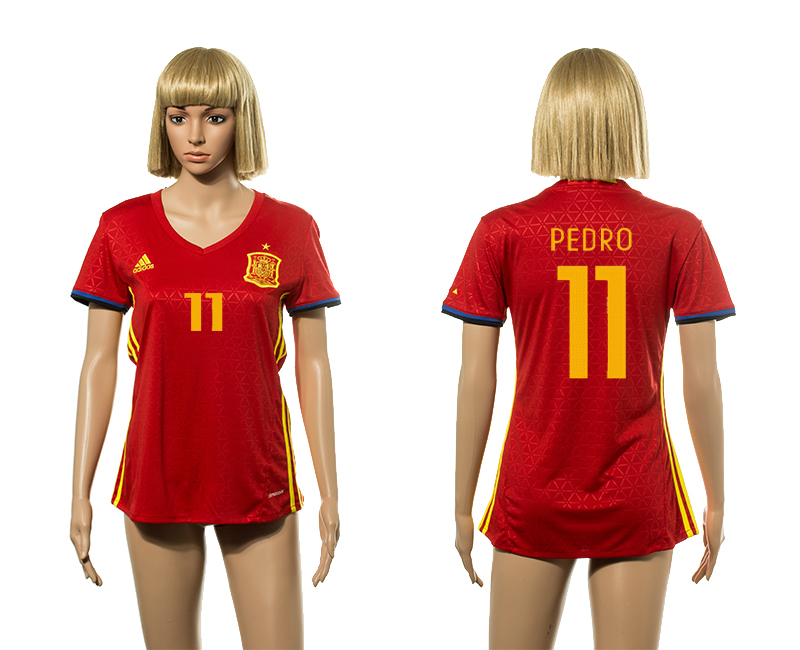European Cup 2016 Spain home 11 Pedro Red Women soccer jerseys