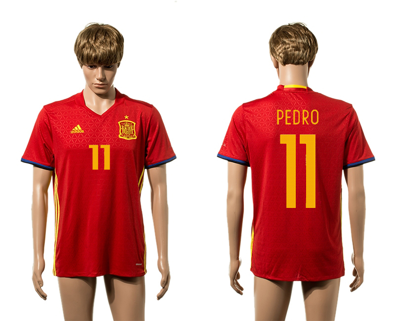 European Cup 2016 Spain home 11 Pedro red AAA+ soccer jerseys