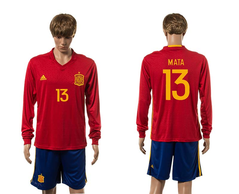 European Cup 2016 Spain home 13 Mata red long sleeve soccer jerseys