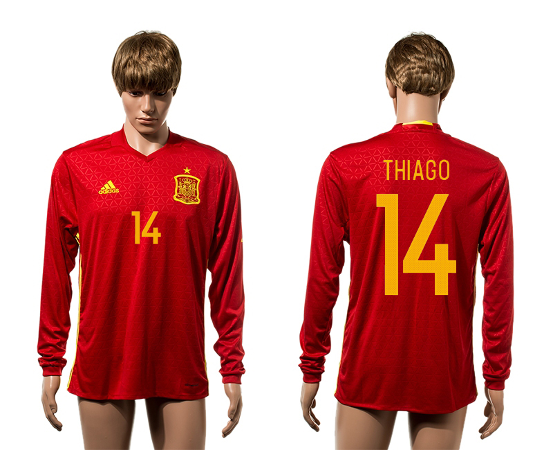 European Cup 2016 Spain home 14 Thiago red long sleeve AAA+ soccer jerseys