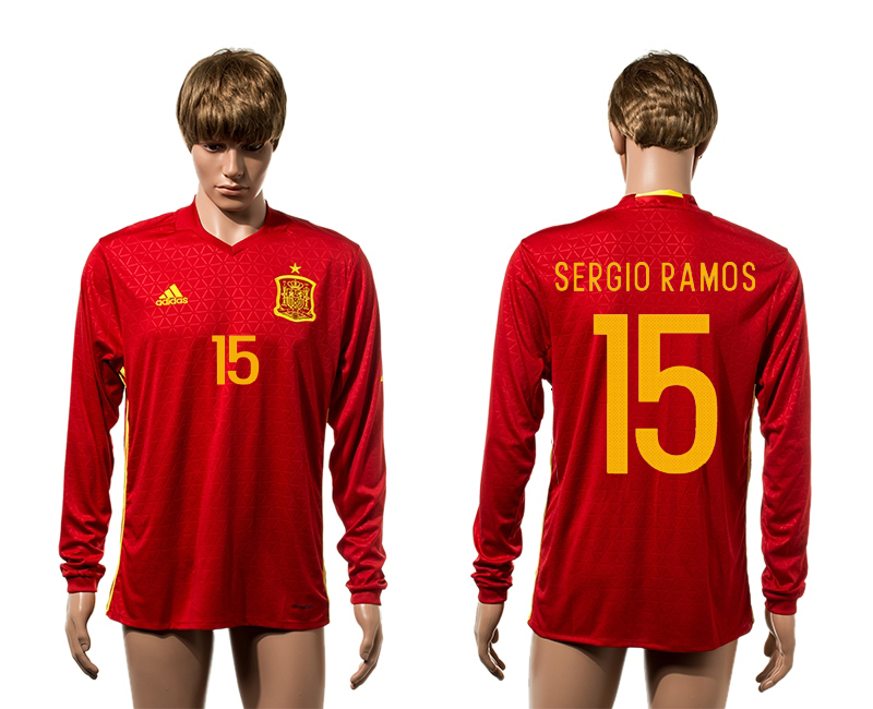 European Cup 2016 Spain home 15 Sergio Ramos red long sleeve AAA+ soccer jerseys