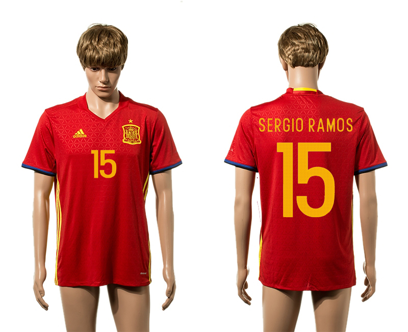European Cup 2016 Spain home 15 Sergio Ramos red AAA+ soccer jerseys