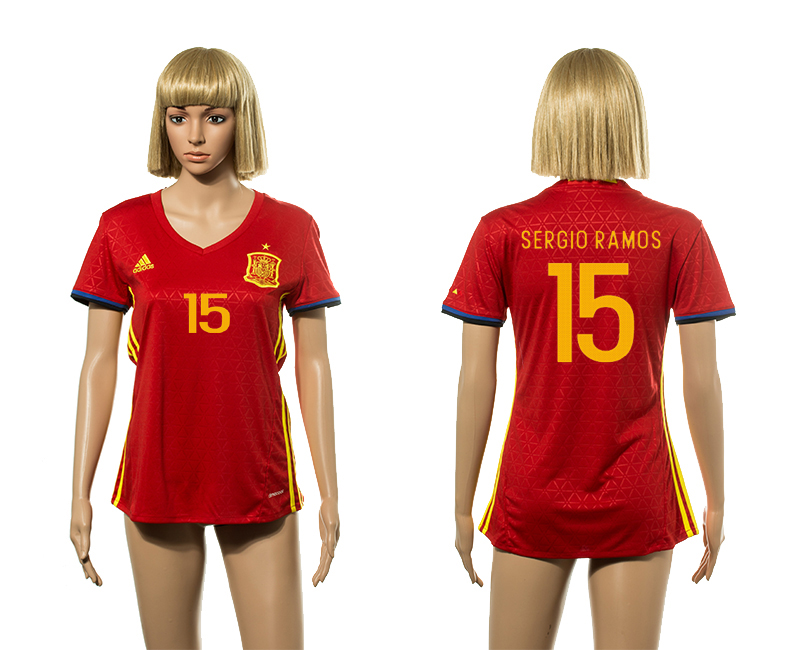 European Cup 2016 Spain home 15 Sergio Ramos red Women soccer jerseys