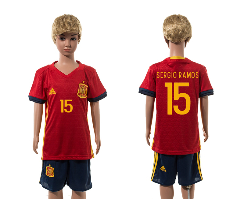 European Cup 2016 Spain home 15 Sergio Ramos red kids soccer jerseys