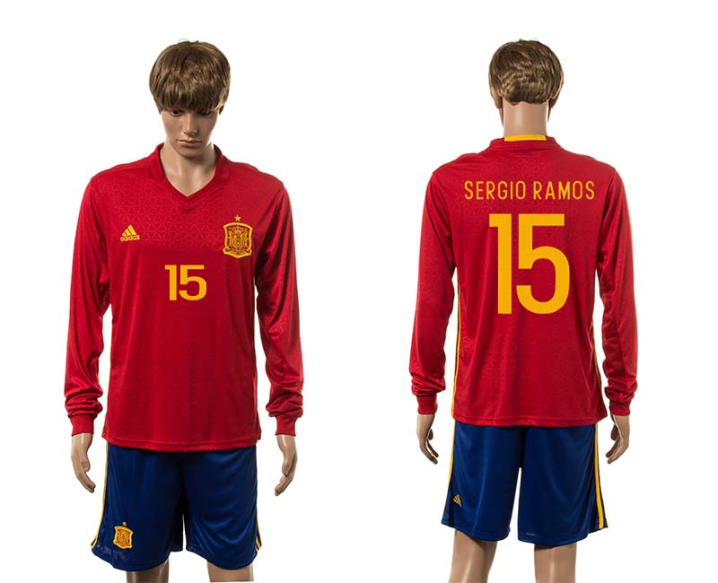 European Cup 2016 Spain home 15 Sergio Ramos red long sleeve soccer jerseys